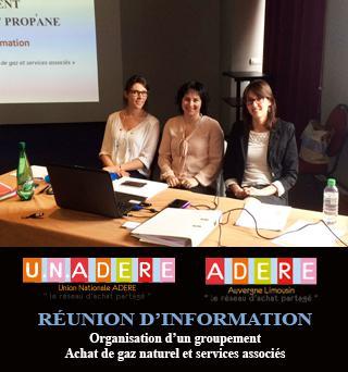 U.N.ADERE et ADERE Auvergne-Limousin se réunissent pour la première réunion d'information sur un futur groupement Gaz et services associés.